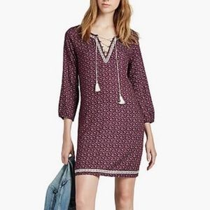 Lucky Brand Dark Purple Floral Lace Up Tunic Dress